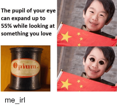 Love, Irl, and Me IRL: The pupil of your eye  can expand up to  55% while looking at  something you love