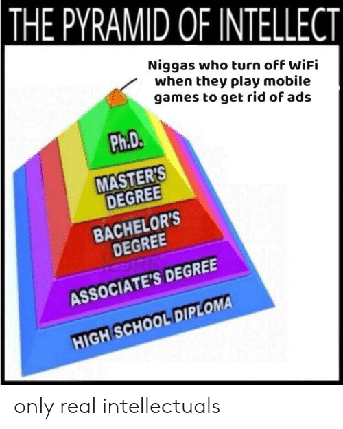 School, Games, and Masters: THE PYRAMID OF INTELLECT  Niggas who turn off WiFi  when they play mobile  games to get rid of ads  Ph.D.  MASTERS  DEGREE  BACHELOR'S  DEGREE  ASSOCIATE'S DEGREE  HIGH SCHOOL DIPLOMA only real intellectuals