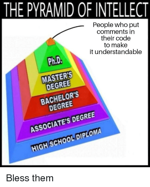 School, Masters, and High School Diploma: THE PYRAMID OF INTELLECT  People who put  comments in  their code  to make  it understandable  Ph.D  MASTERS  DEGREE  BACHELOR'S  DEGREE  ASSOCIATE'S DEGREE  HIGH SCHOOL DIPLOMA  REE Bless them