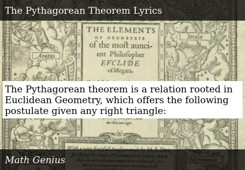 The Pythagorean Theorem Is a Relation Rooted in Euclidean
