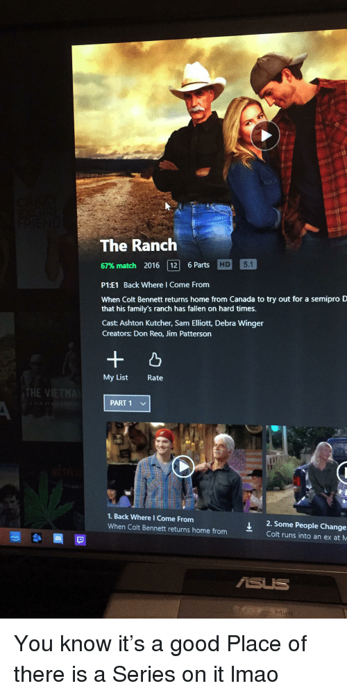 Lmao, Canada, and Good: The Ranclh  67% match 2016 | 12| 6 Parts  P1:E1 Back Where l Come From  When Colt Bennett returns home from Canada to try out for a semipro D  that his family's ranch has fallen on hard times.  Cast: Ashton Kutcher, Sam Elliott, Debra Winger  Creators: Don Reo, Jim Patterson  My List  Rate  THE V  PART 1  1. Back Where I Come From  When Colt Bennett returns home fromColt runs into an ex at M  J2.Some People Change  SUS