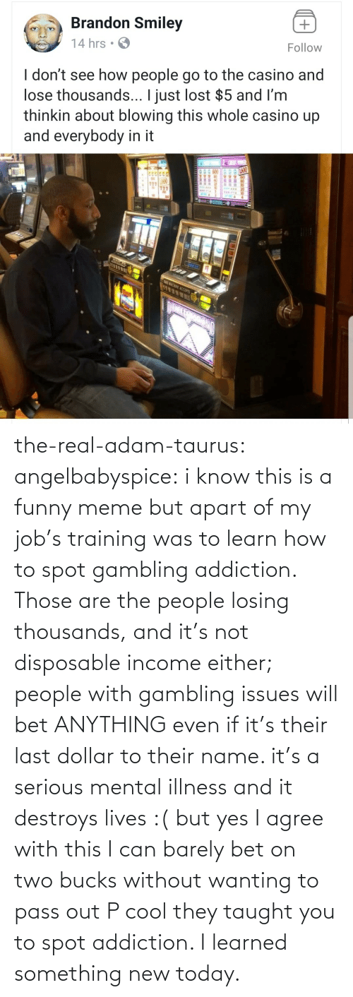 Funny, Meme, and Tumblr: the-real-adam-taurus:  angelbabyspice:  i know this is a funny meme but apart of my job's training was to learn how to spot gambling addiction. Those are the people losing thousands, and it's not disposable income either; people with gambling issues will bet ANYTHING even if it's their last dollar to their name. it's a serious mental illness and it destroys lives :( but yes I agree with this I can barely bet on two bucks without wanting to pass out    P cool they taught you to spot addiction. I learned something new today.