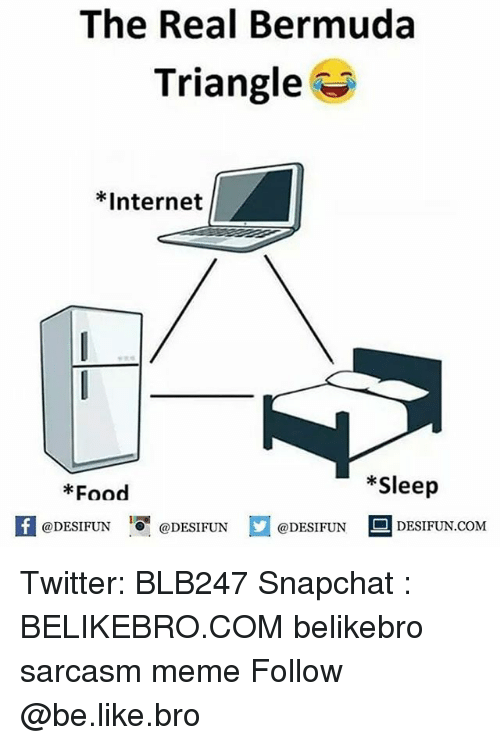 Be Like, Bermuda Triangle, and Food: The Real Bermuda  Triangle  *Internet  *Sleep  Food  @DESIFUN 1 @DESIFUN ם@DESIFUN - DESIF UN.COM Twitter: BLB247 Snapchat : BELIKEBRO.COM belikebro sarcasm meme Follow @be.like.bro