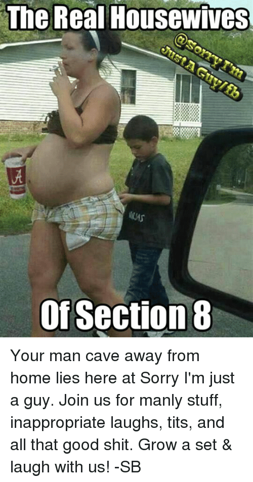 Dank, Section 8, and Tits: The Real Housewives  Of Section 8 Your man cave away from home lies here at Sorry I'm just a guy. Join us for manly stuff, inappropriate laughs, tits, and all that good shit. Grow a set & laugh with us! -SB