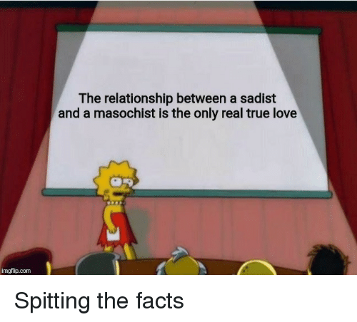 Facts, Love, and True: The relationship between a sadist  and a masochist is the only real true love  imgflip.com