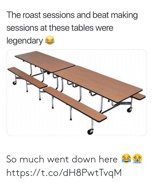 Roast, Tables, and Down: The roast sessions and beat making  sessions at these tables were  legendary e So much went down here 😂😭 https://t.co/dH8PwtTvqM