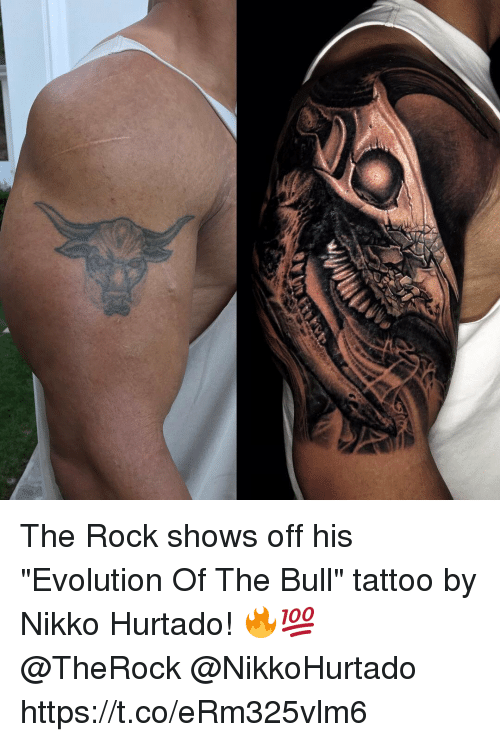 The Rock Shows Off His Evolution Of The Bull Tattoo By Nikko Hurtado
