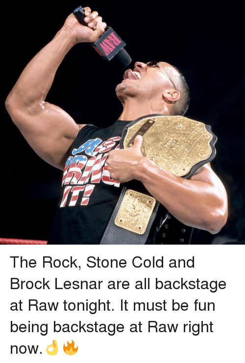 The Rock Stone Cold And Brock Lesnar Are All Backstage At Raw