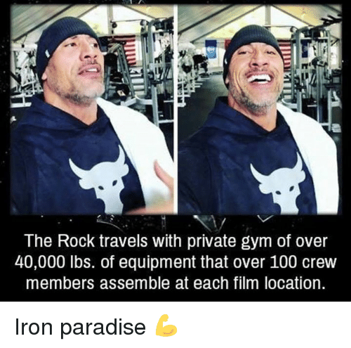 Anaconda, Gym, and Paradise: The Rock travels with private gym of over  40,000 lbs. of equipment that over 100 crew  members assemble at each film location Iron paradise 💪