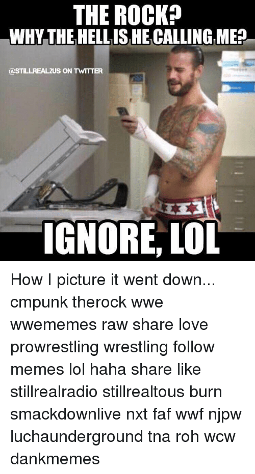 Ignorant, Memes, and The Rock: THE ROCK?  WHY THE HELL ISHECALLINGME  CASTLLREALZUS ON TWTTTER  IGNORE, LOL How I picture it went down... cmpunk therock wwe wwememes raw share love prowrestling wrestling follow memes lol haha share like stillrealradio stillrealtous burn smackdownlive nxt faf wwf njpw luchaunderground tna roh wcw dankmemes