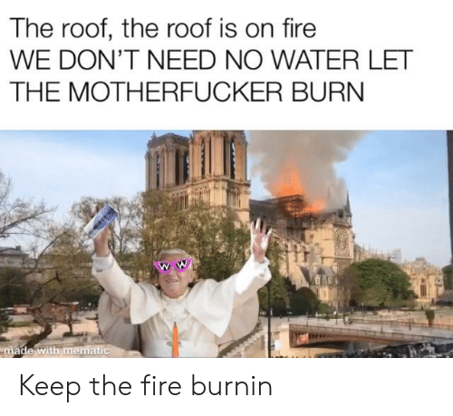 Fire, Water, and Dank Memes: The roof, the roof is on fire  WE DON'T NEED NO WATER LET  THE MOTHERFUCKER BURN Keep the fire burnin