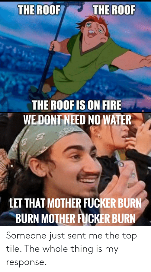 The ROOR THE ROOF THE ROOFIS ON FIRE WE DONT NEED NO WATER