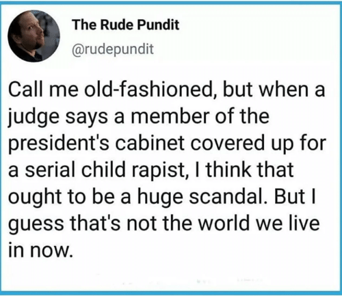 Memes, Rude, and Guess: The Rude Pundit  @rudepundit  Call me old-fashioned, but when a  judge says a member of the  president's cabinet covered up for  a serial child rapist, I think that  ought to be a huge scandal. But I  guess that's not the world we live  in now.