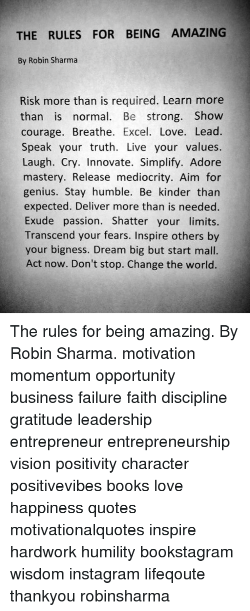 The Rules For Being Amazing By Robin Sharma Risk More Than Is