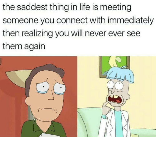 Life, Never, and Will: the saddest thing in life is meeting  someone you connect with immediately  then realizing you will never ever see  them agairn