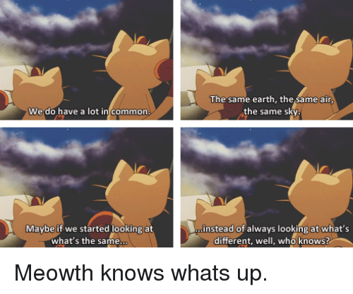 Common, Earth, and Air: The same earth, the same air  the same sky  We do have a lot in common  Maybe if we started looking at  instead of always looking at what's  what's the same  different, well, who knows? <p>Meowth knows whats up.</p>