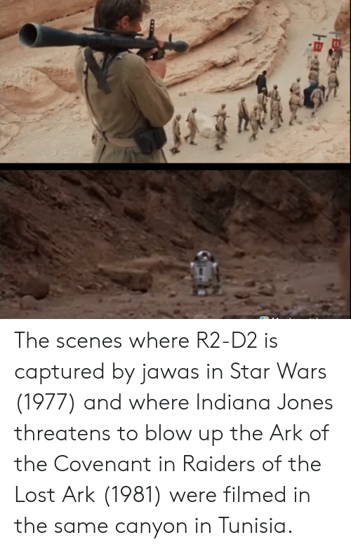 R2-D2, Star Wars, and Lost: The scenes where R2-D2 is captured by jawas in Star Wars (1977) and where Indiana Jones threatens to blow up the Ark of the Covenant in Raiders of the Lost Ark (1981) were filmed in the same canyon in Tunisia.