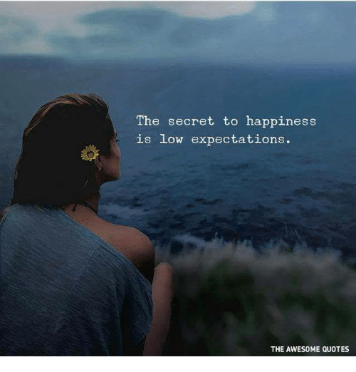 The Secret To Happiness Is Low Expectations THE AWESOME QUOTES Stunning Quotes About Expectations