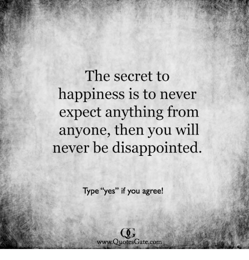 The Secret To Happiness Is To Never Expect Anything From Anyone Then