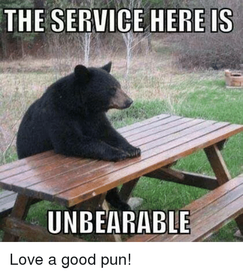 The Service Here Is Unbearable Love A Good Pun Meme On Me Me
