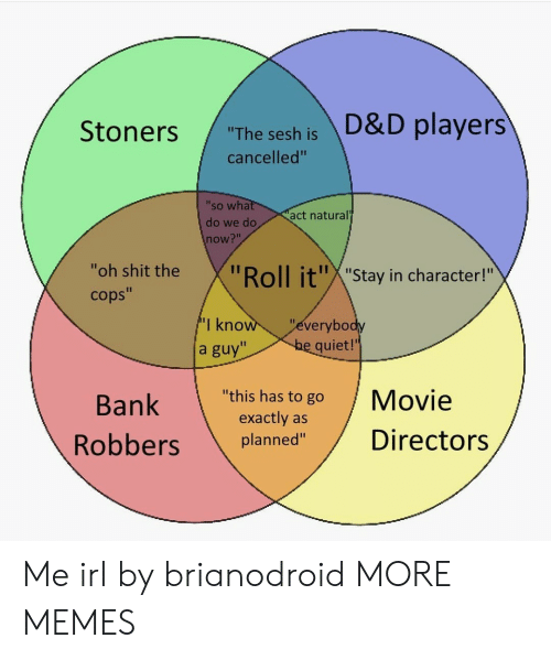 """Dank, Memes, and Shit: """"The sesh is D&D players  cancelled""""  'so wha  do we do  now?""""  act natural  """"oh shit the  cops""""  oll it""""X""""Stay in character!""""  I kno  a guy""""  everybo  quiet!'  Bank  """"this has to go Movie  exactly as  planned""""Directors Me irl by brianodroid MORE MEMES"""