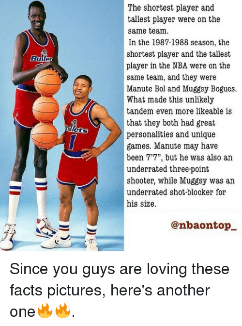 """Another One, Facts, and Memes: The shortest player and  tallest player were on the  same team.  In the 1987-1988 season, the  shortest player and the tallest  player in the NBA were on the  same team, and they were  Manute Bol and Muggsy Bogues.  What made this unlikely  tandem even more likeable is  that they both had great  personalities and unique  games. Manute may have  been 7'7"""", but he was also an  underrated three-point  shooter, while Muggsy was an  underrated shot-blocker for  his size.  @nbaontop Since you guys are loving these facts pictures, here's another one🔥🔥."""