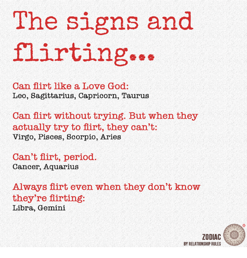 God, Love, and Period: The signs and flirting Can flirt like a Love