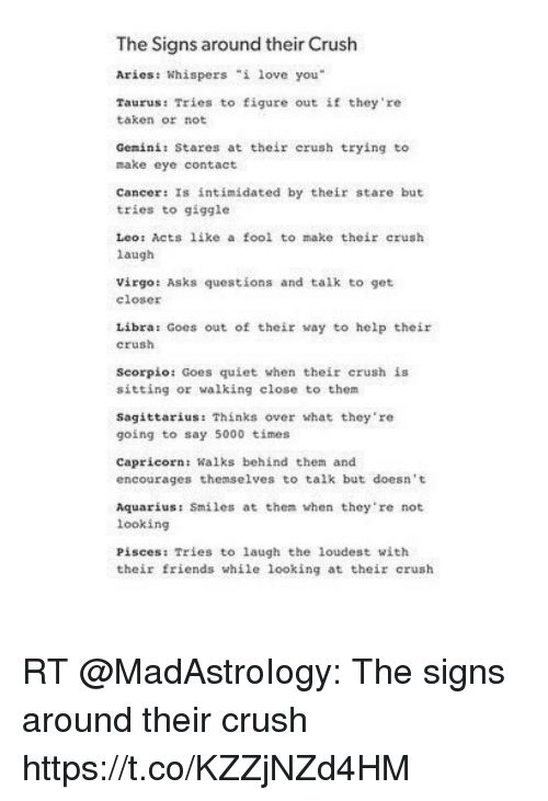 The Signs Around Their Crush Aries Whispers I Love You