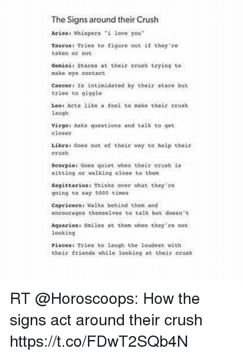 How the signs act around their crush