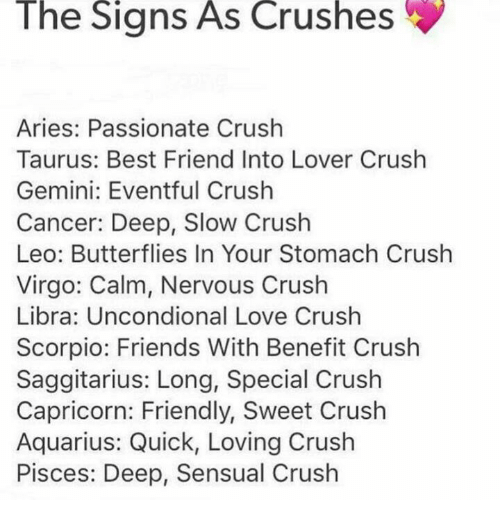 The Signs as Crushes Aries Passionate Crush Taurus Best