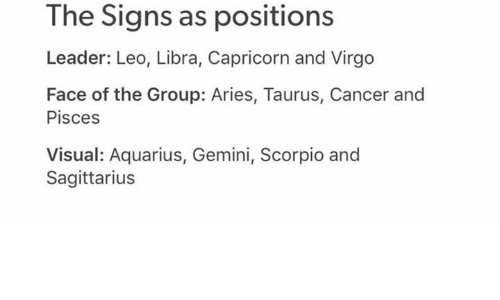 The Signs as Positions Leader Leo Libra Capricorn and Virgo