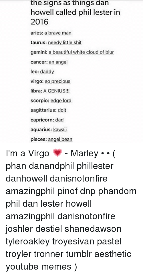 The Signs as Things Dan Howell Called Phil Lester in 2016