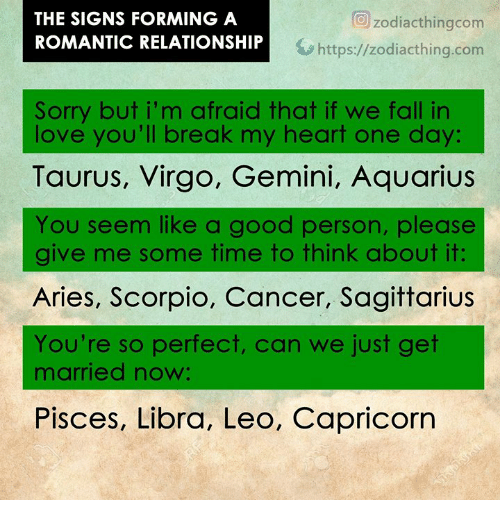 The SIGNS FORMING a ROMANTIC RELATIONSHIP O Zodiacthingcom
