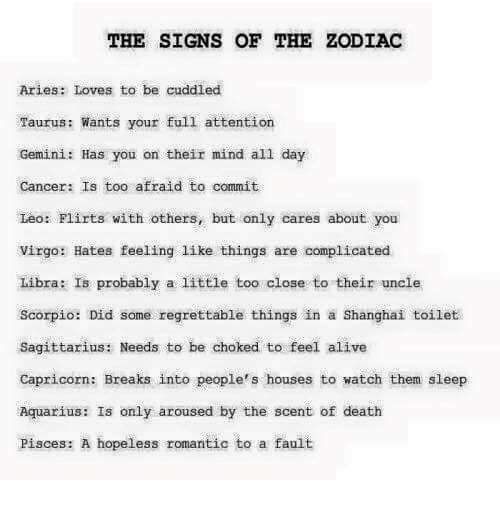 The SIGNS OF THE ZODIAC Aries Loves to Be Cuddled Taurus