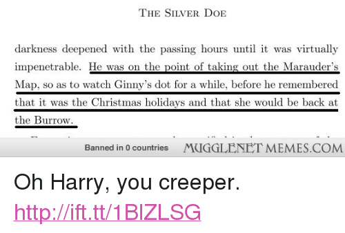 """Christmas, Memes, and Http: THE SILVER DoIE  darkness deepened with the passing hours until it was virtually  impenetrable. He was on the point of taking out the Marauder's  Map, so as to watch Ginny's dot for a while, before he remembered  that it was the Christmas holidavs and that she would be back at  the Burrow  Banned in 0 countries  MUGGLENET MEMES.COM <p>Oh Harry, you creeper. <a href=""""http://ift.tt/1BlZLSG"""">http://ift.tt/1BlZLSG</a></p>"""