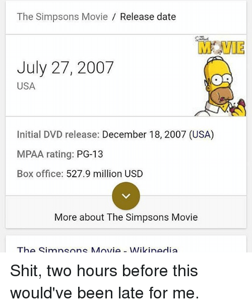 The Simpsons Movie Release Date M Vie July 27 2007 Usa Initial Dvd Release December 18 2007 Usa Mpaa Rating Pg 13 Box Office 5279 Million Usd More About The Simpsons Movie The