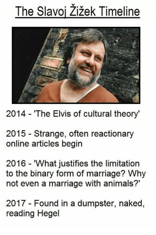 The Slavoj Zizek Timeline 2014 the Elvis of Cultural Theory 2015