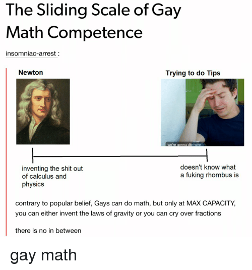 The Sliding Scale of Gay Math Competence Insomniac-Arrest Newton