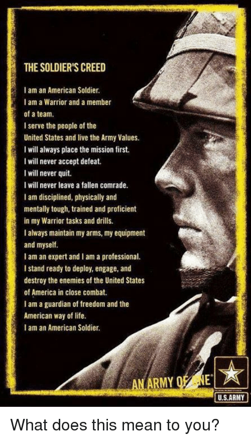 what is usually your members of the military creed
