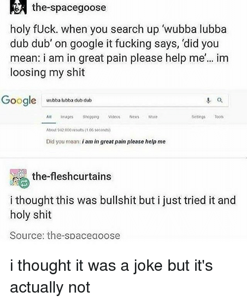 Fucking, Google, and Memes: the-spacegoose  holy fUck. when you search up wubba lubba  dub dub' on google it fucking says, 'did you  mean: i am in great pain please help me'... im  loosing my shit  oogle  o.  wubba lubba dub dub  setings T  All mae Shopping Videos News More  bout 932o0o resuts 1 03 1600n0  Did you moan: i am in great pain please help me  , the-fleshcurtains  i thought this was bullshit but i just tried it and  holy shit  Source: the-spaceaoose i thought it was a joke but it's actually not