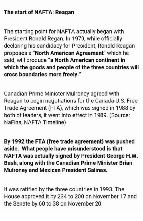 The Start Of Nafta Reagan The Starting Point For Nafta Actually