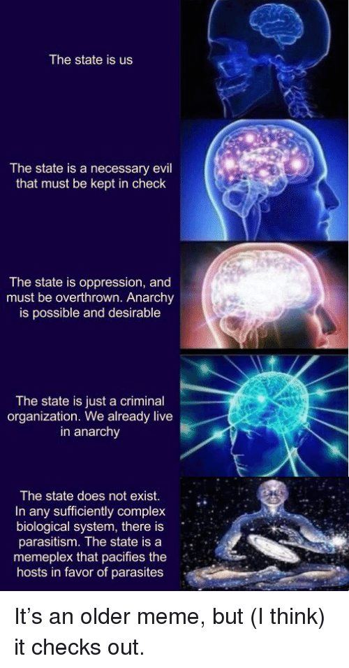 Complex, Meme, and Live: The state is us  The state is a necessary evil  that must be kept in check  The state is oppression, and  must be overthrown. Anarchy  is possible and desirable  The state is just a criminal  organization. We already live  in anarchy  The state does not exist.  In any sufficiently complex  biological system, there is  parasitism. The state is a .  memeplex that pacifies the  hosts in favor of parasites It's an older meme, but (I think) it checks out.