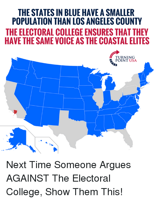 College, Memes, and Blue: THE STATES IN BLUE HAVE A SMALLER  POPULATION THAN LOS ANGELES COUNTY  THE ELECTORAL COLLEGE ENSURES THAT THEY  HAVE THE SAME VOICE AS THE COASTAL ELITES  TURNING Next Time Someone Argues AGAINST The Electoral College, Show Them This!