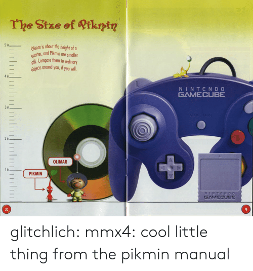 Tumblr, Blog, and Cool: The Stze of Qtkntn  in  Olimar is about the hei  uertet, and Pikmin are smaller  ill.Compare them to ordinary  iects around you,if you will  _  in  NINTEND O  GAMECUBE  STARAPAUSE  3in  2in  0  OLIMAR  1 in  ( PIKMIN  GAMECUBE  8 glitchlich:  mmx4: cool little thing from the pikmin manual