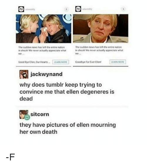 Relatable, Deaths, and Eye: The sudden news hasleh the enere  The Budden News has len theenMMe nation  in shock we never actually appreciate what  in shock We never actually appreciate what  Good eye Elen our Hearts  LEARN Most Goodbye For Ever Ellen  jackwynand  why does tumblr keep trying to  convince me that ellen degeneres is  dead  sit corn  they have pictures of ellen mourning  her own death -F