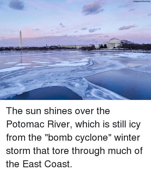"Memes, Winter, and 🤖: The sun shines over the Potomac River, which is still icy from the ""bomb cyclone"" winter storm that tore through much of the East Coast."