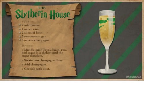 Champagne, House, and Sugar: THE  Sviberin House  Ingredients:  4 mint leaves  1 ounce rum  2 slices of lime  y3 teaspoons sugar  9 3 ounces champagne  Directions:  1. Muddle mint leaves, limes, rum  and sugar in a shaker until the  sugar dissolves  2. Strain into champagne flute.  s. Add champagne.  4. Garnish with mint.  Mashable