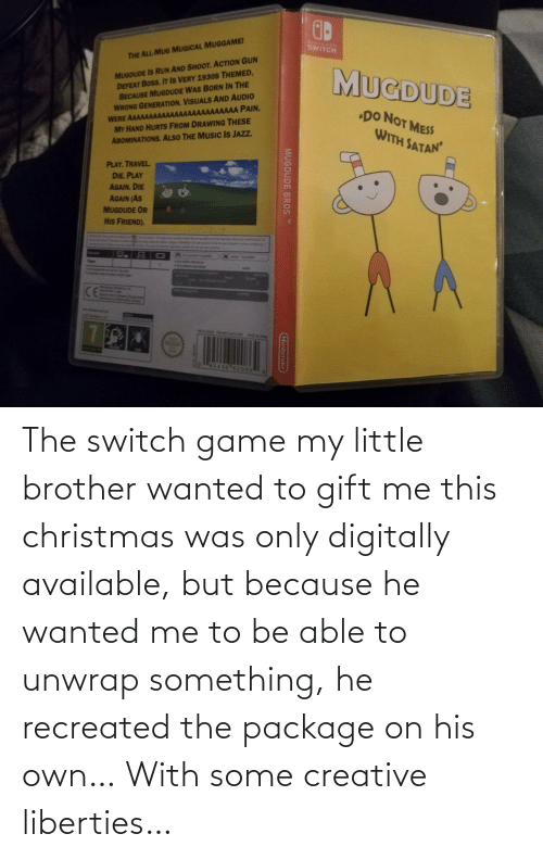 Christmas, Game, and Little Brother: The switch game my little brother wanted to gift me this christmas was only digitally available, but because he wanted me to be able to unwrap something, he recreated the package on his own… With some creative liberties…