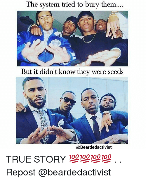 Memes, True, and True Story: The system tried to bury them....  But it didn't know they were seeds  @Beardedactivist TRUE STORY 💯💯💯💯 . . Repost @beardedactivist