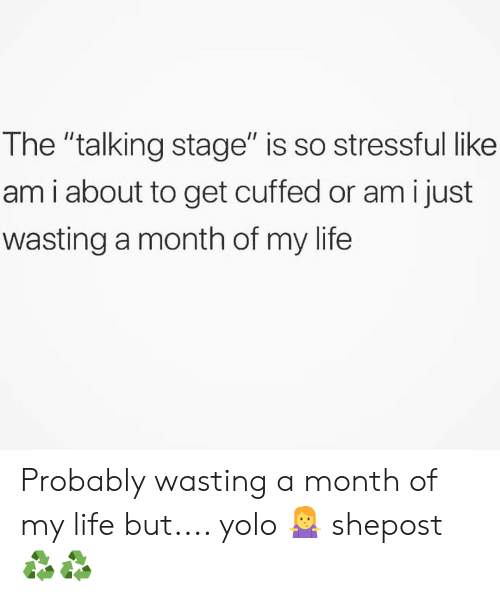 """Life, Memes, and Yolo: The """"talking stage"""" is so stressful like  am i about to get cuffed or am i just  wasting a month of my life Probably wasting a month of my life but.... yolo 🤷 shepost♻♻"""